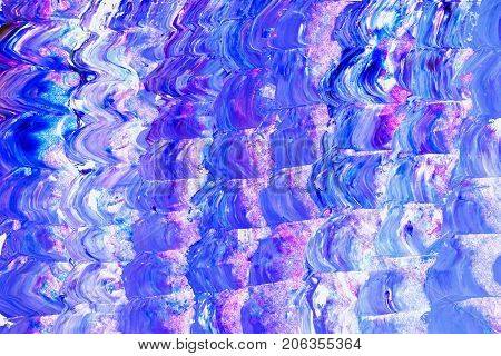 Abstract vivid hand painted acrylic multicolor background, acrylic brush strokes, violet and purple shades. Hand draw. Canvas for design