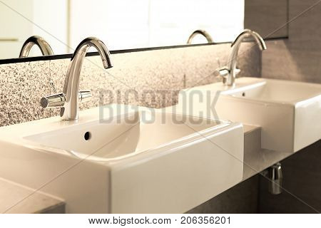 sanitary ware in solf and blur background.