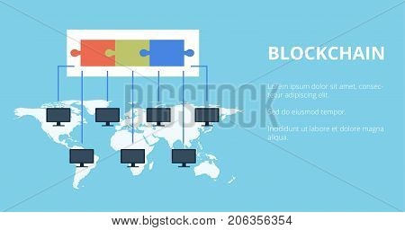 Blockchain Technology vector illustration. Public database of transactions is recorded on computers running on the same network. Crypto currency concept.