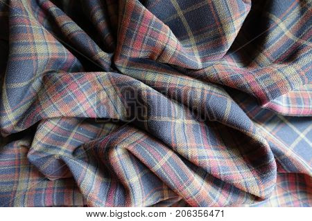 Crumpled Thick Plaid Fabric  In Subdued Colors