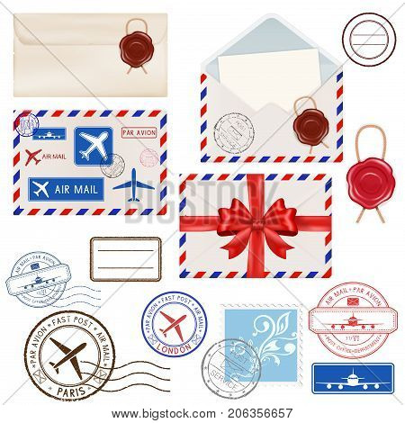 Collection of postal elements - envelopes, postmarks, stamps, sealing wax. Vector 3d illustration