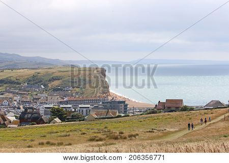 cliffs and town of West Bay in Dorset