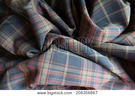 Draped Thick Plaid Fabric  In Subdued Colors
