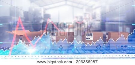 Brown cardboard boxes on conveyor belt against stocks and shares