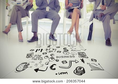 Composite image of various business icons against business people sitting on chairs