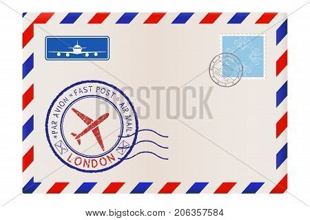 Envelope with London stamp. International mail postage with postmark and stamps. Vector illustration