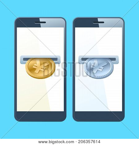 Two mobile phones and yens. A coin slotes with gold and silver yen are inserting at the screen. Money, banking, online payment, buying, cash concept. Vector flat material design illustration.
