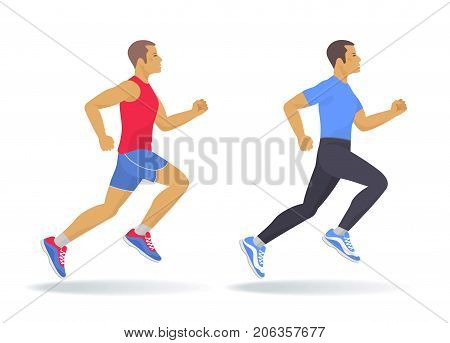 The running woman set. Side view of active sporty running young men in a sportswear. Sport, jogging, fitness, workout, active people, concept. Flat vector illustration isolated on white background.