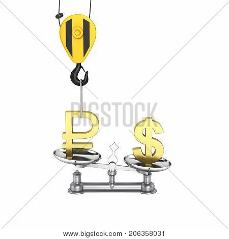 Concept Of Exchange Rate Support Dollar Vs Ruble The Crane Pulls The Ruble Up And Lowers The Dollar