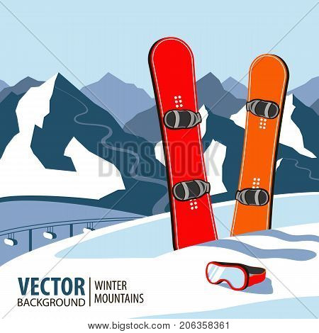 Winter sport objects. Two red snowboards. Mountains in winter season. Vector background