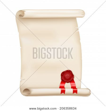 Parchment scroll with red sealing wax. Vector 3d illustration isolated on white background