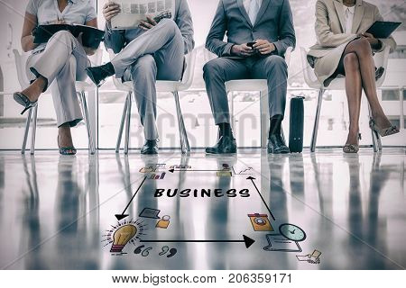 Business text surrounded by various vector icons against group of well dressed business people waiting