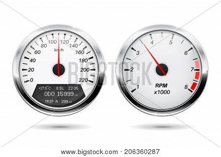 Speedometer, tachometer. Vector illustration isolated on white background