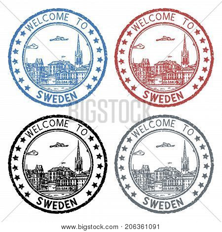 Welcome to Sweden. Colored postal stamps, round postmarks with Stockholm sightseeings. Vector illustration isolated on white background