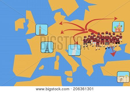 mass tourism,  illustration of tourists group in front of geographic map with attractions - vector cartoon