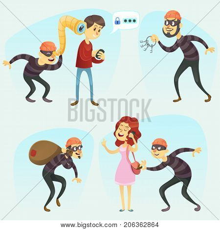 Vector illustration - funny comic thief in action illustration collection Criminals And Burglar Cartoon set eps10