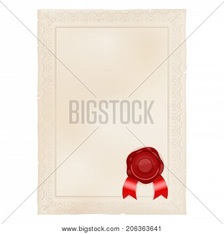 Parchment paper with sealing wax. Vector 3d illustration isolated on white background