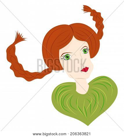 Portrait of a red-haired girl with funny pigtails and green eyes. Vector illustration