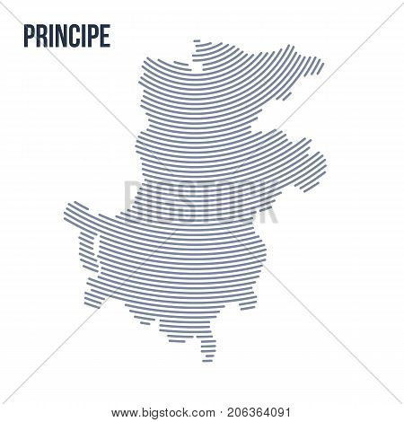Vector Abstract Hatched Map Of Principe With Curve Lines Isolated On A White Background.