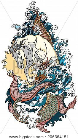 mythological sea horse hippocampus or hippocamp. Tattoo vector illustration