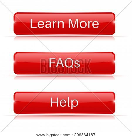 FAQs, Learn More, Help buttons. Red 3d icons. Vector illustration isolated on white background