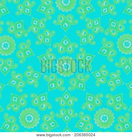 Traditional Indian textile print pattern in soothing blue and green color scheme. Stock image.