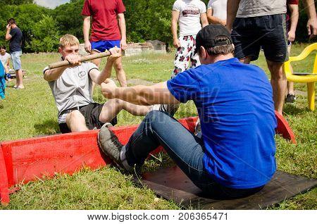 Komsomolsk-on-Amur, Russia, August 1, 2015. amateur mas wrestling competition among men
