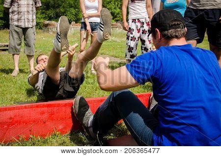 Komsomolsk-on-Amur, Russia, August 1, 2015. victory in amateur mas wrestling competition among men
