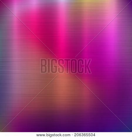 Metal abstract pink colorful gradient technology background with polished, brushed texture, chrome, silver, steel, aluminum for design concepts, web, prints, wallpapers. Vector illustration.