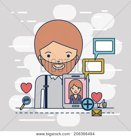 man half body with multimedia application icons and communiction with woman in device tech tablet on colorful decorative background vector illustration