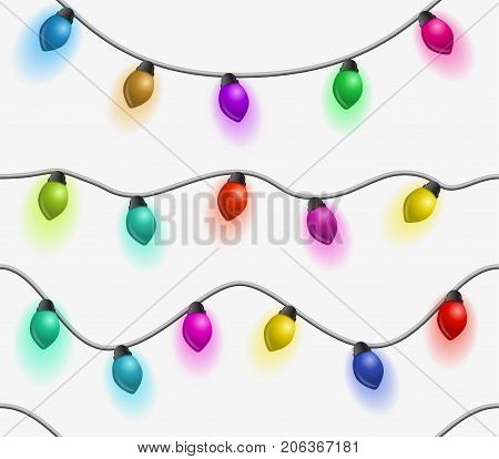 Multicolored garlands seamless pattern. Beautiful holidays decorations. Vector Christmas lights on white background.