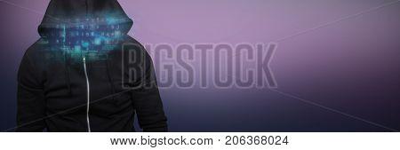 Robber wearing black hoodie against purple and pink background