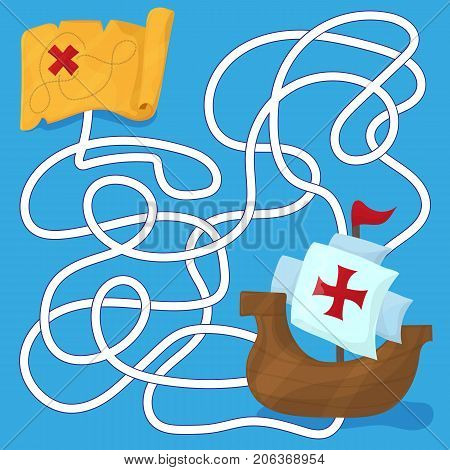 Maze in cartoon style. The ships of Christopher Columbus. Children s game labyrinth. Kids puzzle. Vector illustration