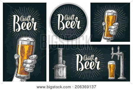 Set horizontal, vertical posters and coaster. Craft Beer lettering with rays. Isolated on the dark background. Vector color hand drawn vintage engraving illustration