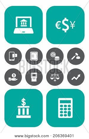 Collection Of Save Money, Cash, Terminal And Other Elements.  Set Of 12 Budget Icons Set.