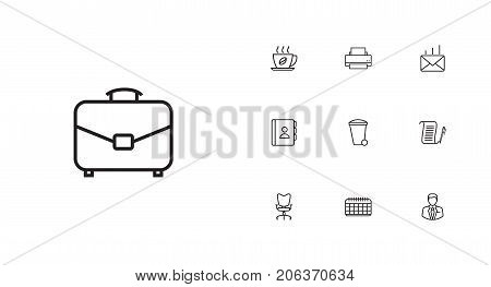 Collection Of Date, Administrator, Printing Machine And Other Elements.  Set Of 10 Bureau Outline Icons Set.