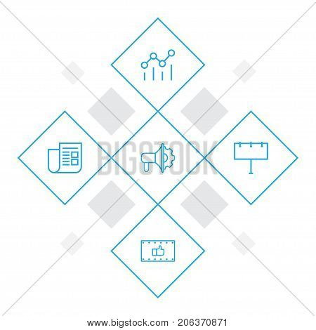 Collection Of Advertising Agency, Newspaper, Campaign And Other Elements.  Set Of 5 Advertising Outline Icons Set.