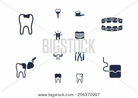 Collection Of Stabilize, Instruments, Procedure And Other Elements.  Set Of 12 Teeth Icons Set.