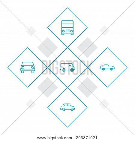 Collection Of Coupe, Car, Lorry And Other Elements.  Set Of 5 Traffic Outline Icons Set.