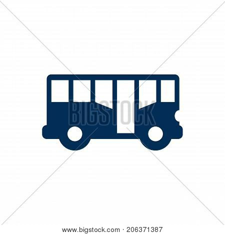 Vector Autobus Element In Trendy Style.  Isolated Bus Icon Symbol On Clean Background.