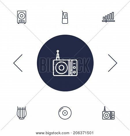 Collection Of Station, Pace, Gramophone And Other Elements.  Set Of 6 Music Outline Icons Set.