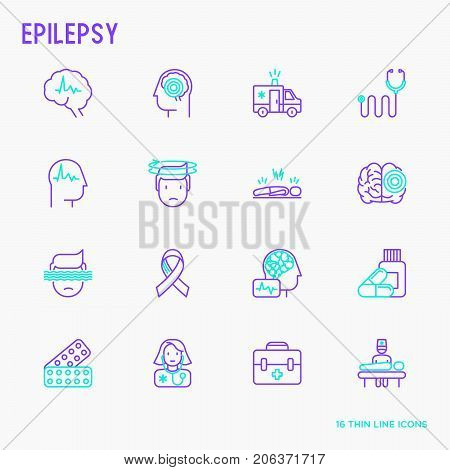 Epilepsy thin line icons set of symptoms and treatments: convulsion, disorder, dizziness, brain scan. World epilepsy day. Vector illustration.
