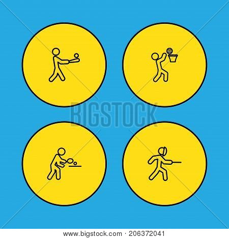 Collection Of Basket, Swordplay, Batting And Other Elements.  Set Of 4 Sport Outline Icons Set.