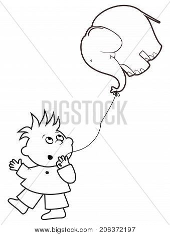 Vector boy holding a balloon in the form of an elephant in his hand