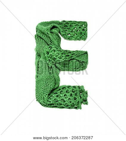 Knitting alphabet. Letter of knit handmade alphabet on white background. Letter E of knit handmade alphabet