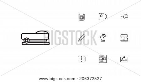 Collection Of Badge Id, Wall Clock, Table Lamp And Other Elements.  Set Of 10 Bureau Outline Icons Set.