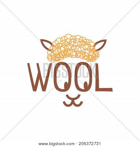 Vector logo template for wool shop or store. Illustration of sheep whose eyes - the letters O in the word wool. Handmade label. Hobby icon. EPS10.