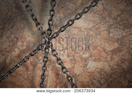 3d image of metallic chains intersecting against old wall background