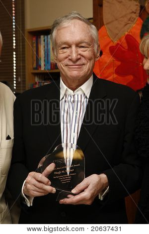 LOS ANGELES - NOV 18:  Hugh Hefner at a ceremony where Hugh Hefner receives first founder's 'Hero of the Hearts' award from Children of the Night on November 18, 2010 in Van Nuys, Los Angeles, CA.