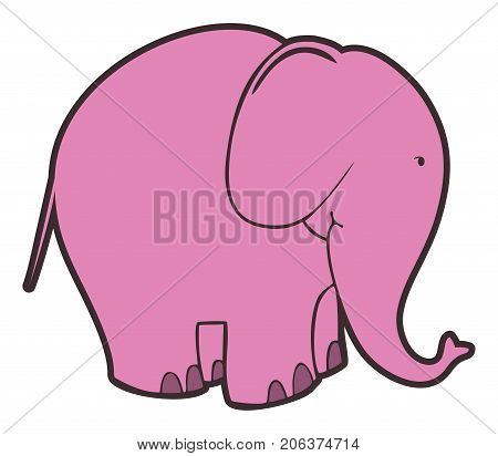 Vector isolated pink elephant on white background